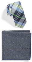 The Tie Bar Men's Crystal Wave Plaid Tie And Pocket Square Set