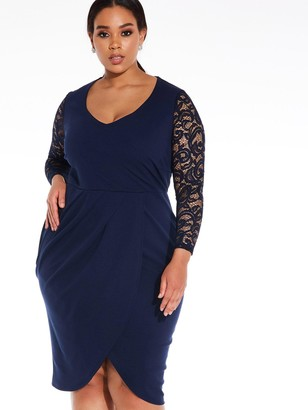 Quiz Curve Lace Sleeve Midi Dress - Navy