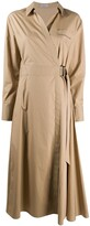 Brunello Cucinelli point-collar wrap midi dress