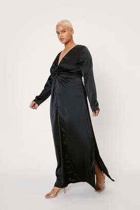 Nasty Gal Womens Plus Size Twist Front Satin Maxi Dress