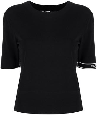 Karl Lagerfeld Paris Logo Intarsia Short-Sleeve Jumper