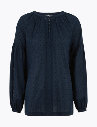 Marks and Spencer Pure Cotton Textured Long Sleeve Blouse