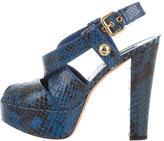Louis Vuitton Snakeskin Peep-Toe Platforms