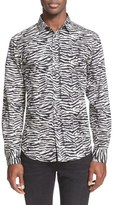 Just Cavalli Trim Fit Zebra Print Sport Shirt