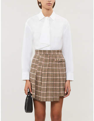 Maje Checked-wool-blend skirt