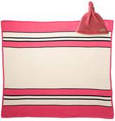 Pink Stripe Cashmere/Organic Cotton Blanket & Bonnet Gift Set