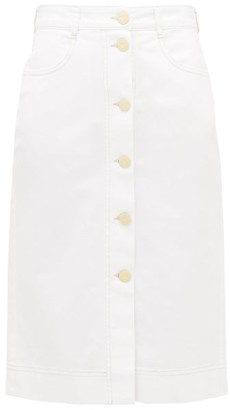 See by Chloe Buttoned High-rise Brushed-cotton Skirt - Womens - White