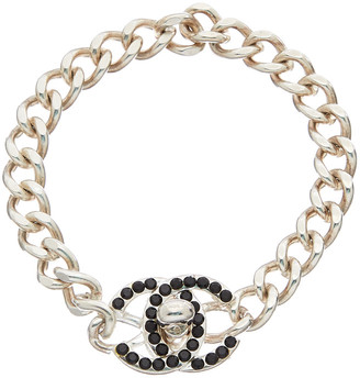 Chanel Silver-Tone Crystal Small Cc Turnlock Bracelet