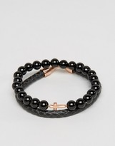 Simon Carter Bracelet Pack In Leather And Onyx