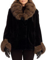 Gorski Sable-Collar Sheared-Mink Jacket, Black/Brown
