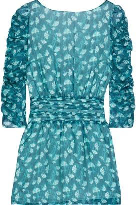 Rachel Zoe Ruched Printed Chiffon Mini Dress