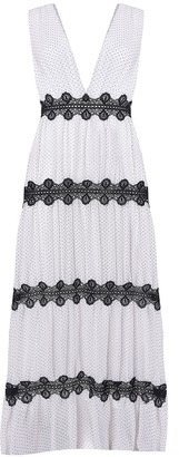 True Decadence White Black Pin Spot Crochet Detail Maxi Dress