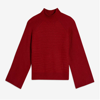 Joe Fresh Women's Texture Turtleneck Sweater, Red (Size XS)