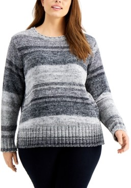 Style&Co. Style & Co Plus Size Space-Dye Chenille Sweater, Created For Macy's