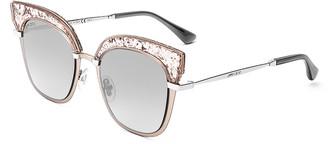 Jimmy Choo Women's Sunglasses Nude - Goldtone & Silvertone Glitter Cat-Eye Sunglasses