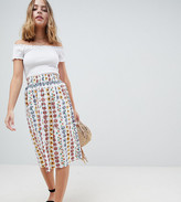 Asos DESIGN Petite cotton midi skirt with button front in floral print