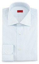 Isaia Mini-Print Woven Dress Shirt, White/Light Blue