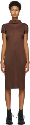 Pleats Please Issey Miyake Brown Pleated Mid-Length Dress