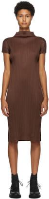 Pleats Please Issey Miyake Brown Pleated Mid-Length Dress