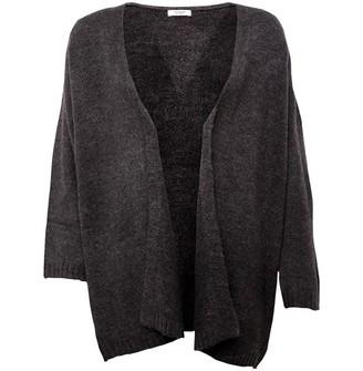 Jacqueline De Yong Womens Crea Treats Long Sleeve Knit Cardigan Dark Grey Melange