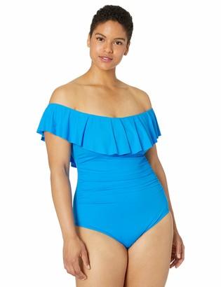 La Blanca Women's Plus Size Island Goddess One Piece Bandeau Swimsuit
