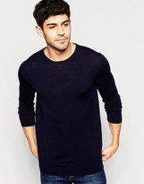 Selected Homme Knitted Crew Neck Jumper In Merino Wool