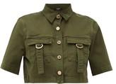 Balmain Military Cropped Cotton-blend Shirt - Womens - Khaki