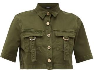 Balmain Military Cropped Cotton-blend Shirt - Khaki