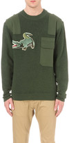 MHI Upcycled crocodile-embroidered virgin wool jumper