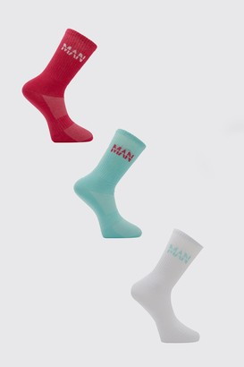 boohoo Mens Blue MAN Active 3 Pack Socks, Blue