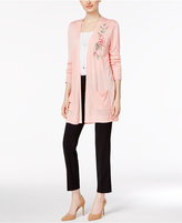 Joseph A Floral-Embroidered Duster Cardigan
