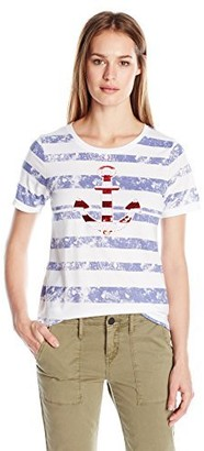 Sag Harbor Women's S/Crewneck Americana Anchor Striped Tee