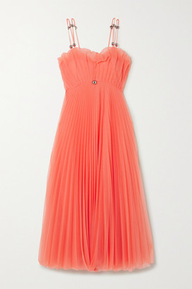 Christopher Kane Embellished Pleated Tulle Maxi Dress - Coral
