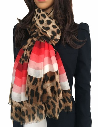 The Accessory Co. Ladies Large Leopard Print Scarf for Women Animal NHS Colourful Rainbow Bright Striped