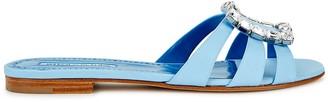 Manolo Blahnik Iluna light blue matte satin sliders