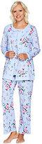 Carole Hochman As Is Cotton Floral Twin Print 3 Pc PJ