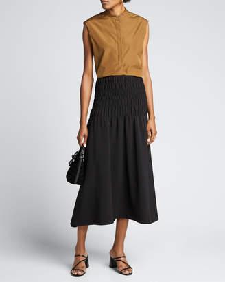 Rhode Resort Greta Smocked Midi Skirt