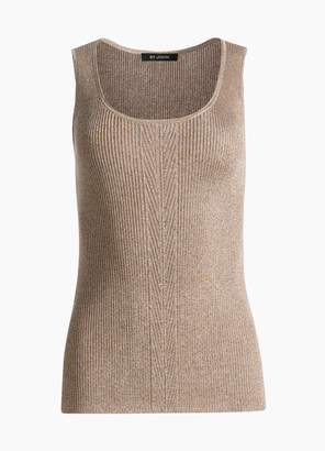 St. John Chevron Rib Knit Scoop Neck Shell