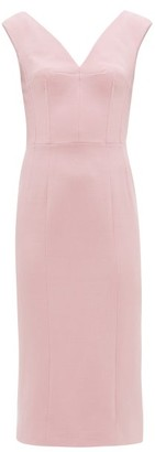 Dolce & Gabbana Corset-panelled Wool-crepe Pencil Dress - Womens - Light Pink