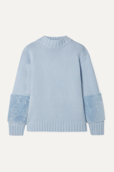 Sally LaPointe Shearling-trimmed Merino Wool And Cashmere-blend Sweater - Light blue