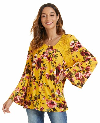 SONJA BETRO Women's Crewneck Eyelet Lace Floral Print Long Bell Sleeve Casual Tunic Top Blouse Small Marigold