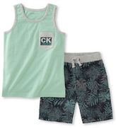Calvin Klein Two-Piece Tank Top and Leaf Printed Shorts Set