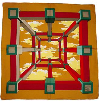One Kings Lane Vintage Hermes Perspective Pochette Scarf - The Emporium Ltd. - green/ochre/red/white/yellow/multi