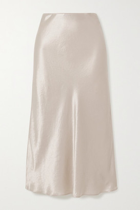Max Mara Leisure Washed-satin Midi Skirt - Cream