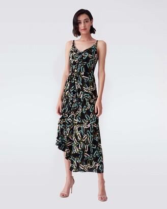 Diane von Furstenberg Amy Matte-Jersey Asymmetrical Slip Dress in Modern Chain