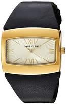 Anne Klein Women's AK/2632CHBK Gold-Tone and Black Leather Strap Watch