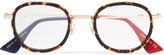 Gucci Round-Frame Acetate and Gold-Tone Optical Glasses
