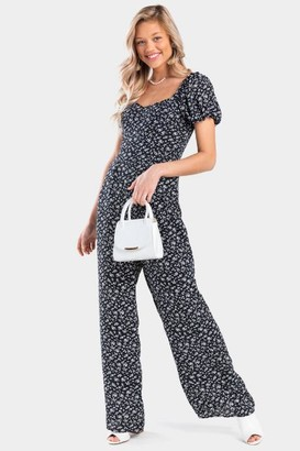 francesca's Sahara Floral Jumpsuit - Black