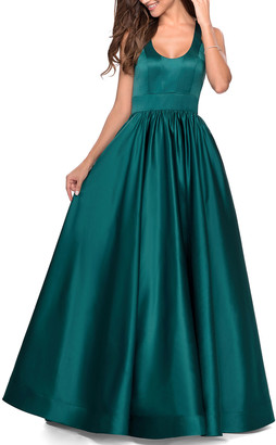 La Femme Scoop-Neck Open-Back A-Line Satin Gown w/ Crisscross Strap