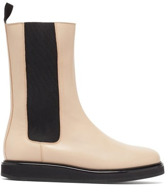 LEGRES Mid-calf Leather Chelsea Boots - Cream